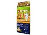 ONTARIO Dog Adult Medium Chicken & Potatoes & Herbs 12+2,25kg ZDARMA