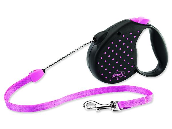 Vodítko FLEXI Color Dots lankové růžové M 1ks