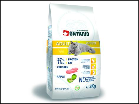 ONTARIO Cat Adult Indoor 2kg+400g ZDARMA