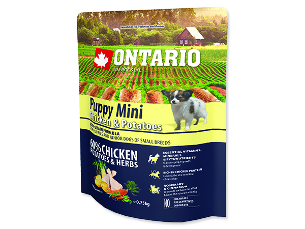 ONTARIO Puppy Mini Chicken & Potatoes & Herbs 0,75kg