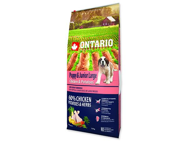ONTARIO Puppy & Junior Large Chicken & Potatoes & Herbs 12+2,25kg ZDARMA