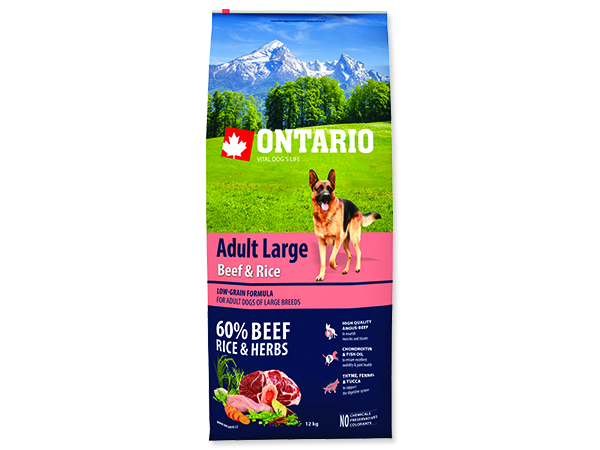 ONTARIO Dog Adult Large Beef & Rice 12+2,25kg ZDARMA