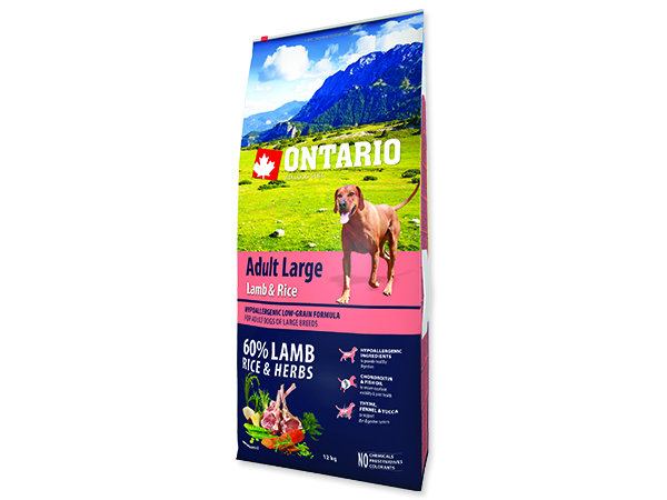 ONTARIO Dog Adult Large Lamb & Rice & Turkey 12+2,25kg ZDARMA