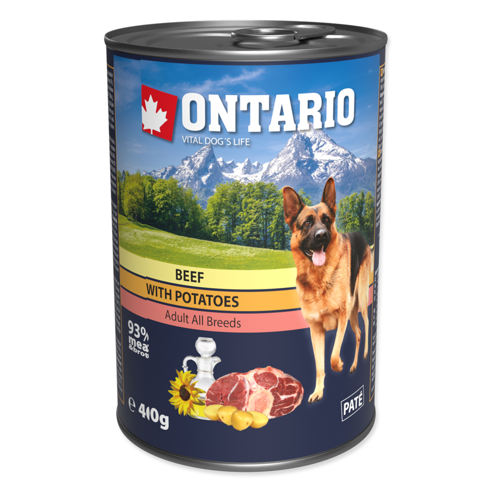 Konzerva ONTARIO Dog Beef, Potatos and Sunflower Oil 400g