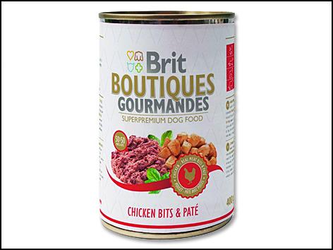 Konzerva BRIT Dog Boutiques Gourmandes Chicken Bits & Paté 400g