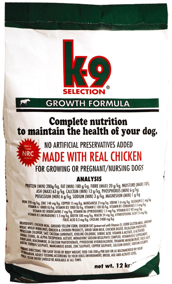 K-9 SELECTION GROWTH FORMULA 12 kg (krmivo pro štěňata)