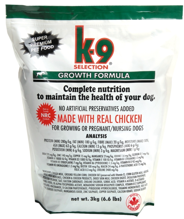 K-9 SELECTION GROWTH FORMULA 3 kg (krmivo pro štěňata)