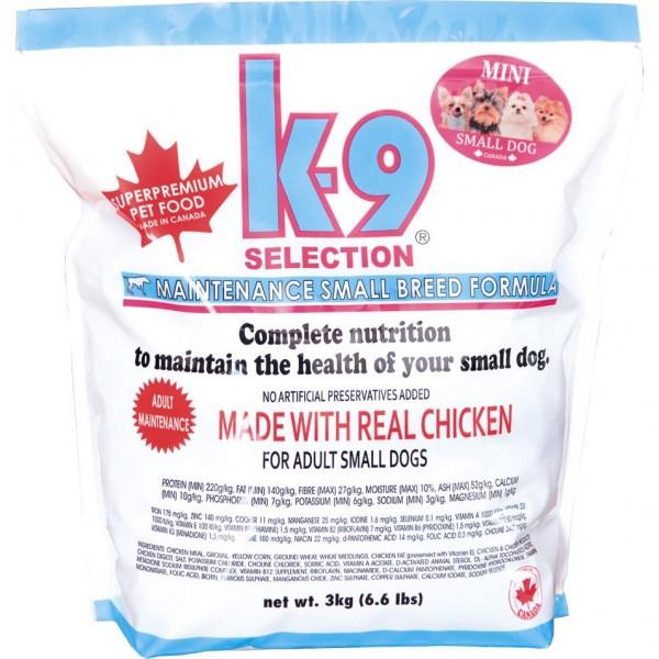 K-9 SELE. MAINTENANCE SMALL BREED FORM. 3 kg krmivo pro dospělé psy malých ple