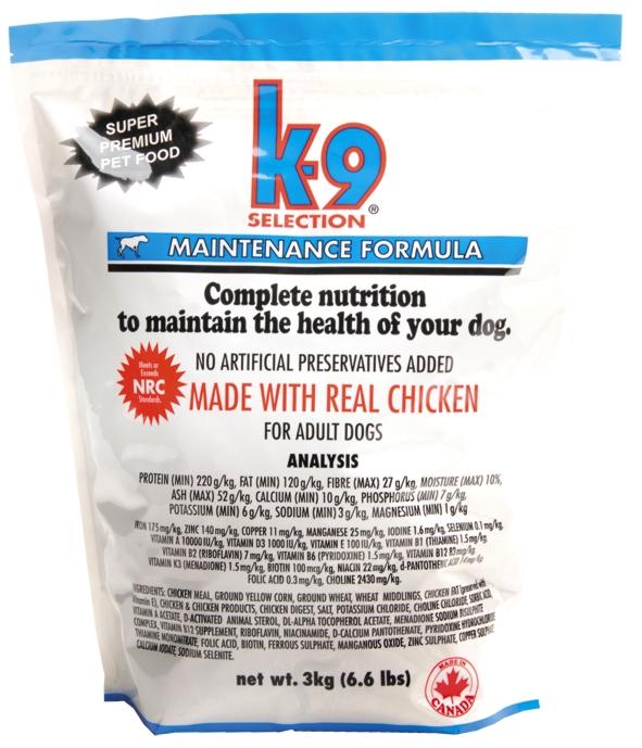 K-9 SELECTION MAINTENANCE FORMULA 3 kg (krmivo pro dospělé psy)