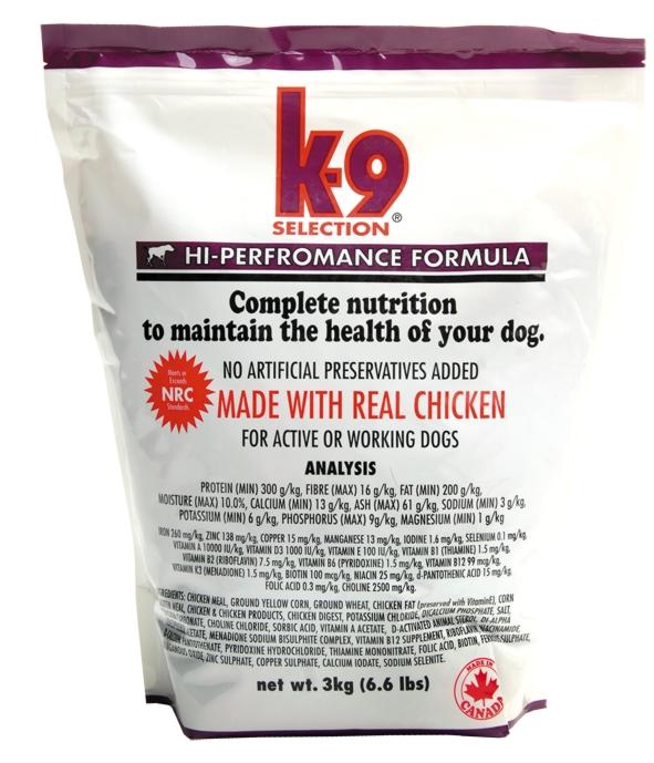 K-9 SELECTION HI-PERFORMANCE FORMULA 3 kg (krmivo pro pro velmi aktivní psy)