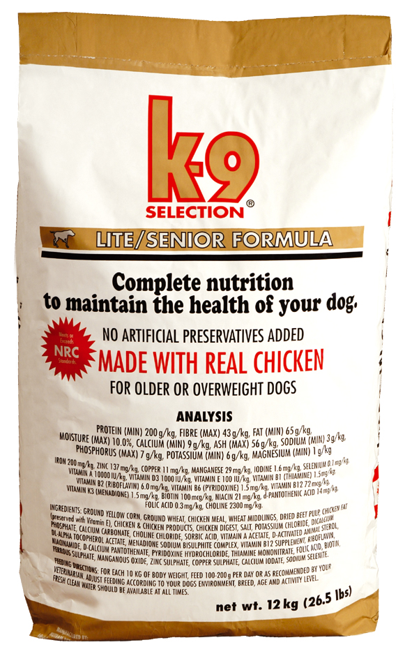 K-9 SELECTION LITE FORMULA 20 kg (krmivo pro kontrolu hmotnosti psa)