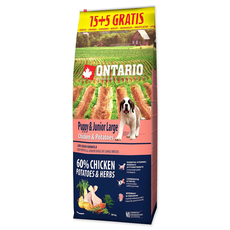 ONTARIO Puppy & Junior Large Chicken & Potatoes & Herbs 15+5 kg 20kg