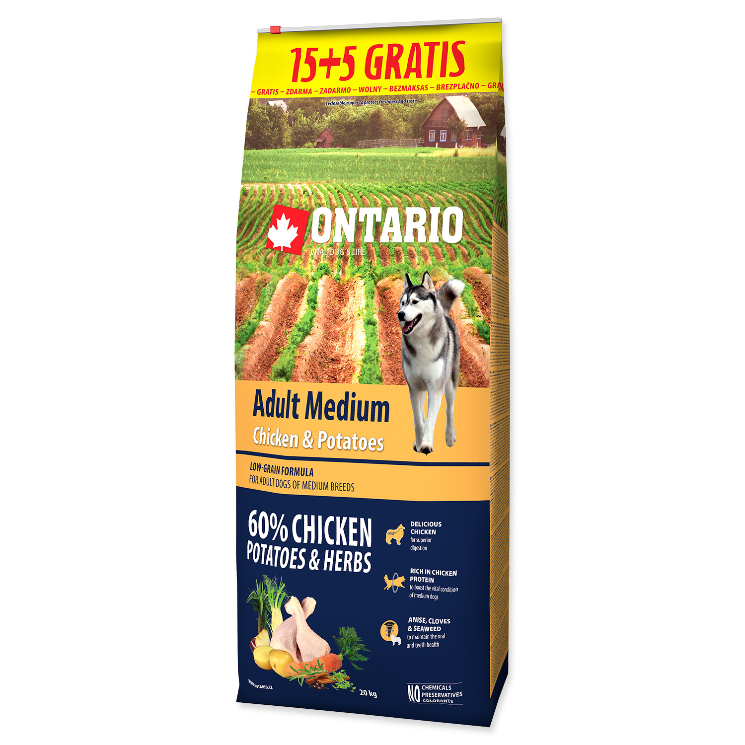 ONTARIO Dog Adult Medium Chicken & Potatoes & Herbs 15+5 kg 20kg