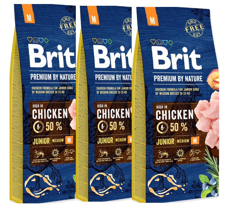 3x BRIT Premium by Nature Junior M 15kg