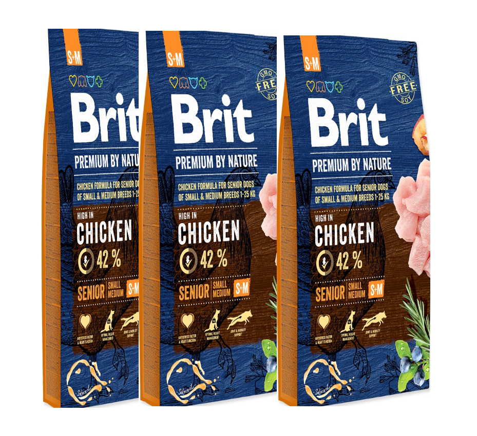 3x BRIT Premium by Nature Senior S+M 8kg