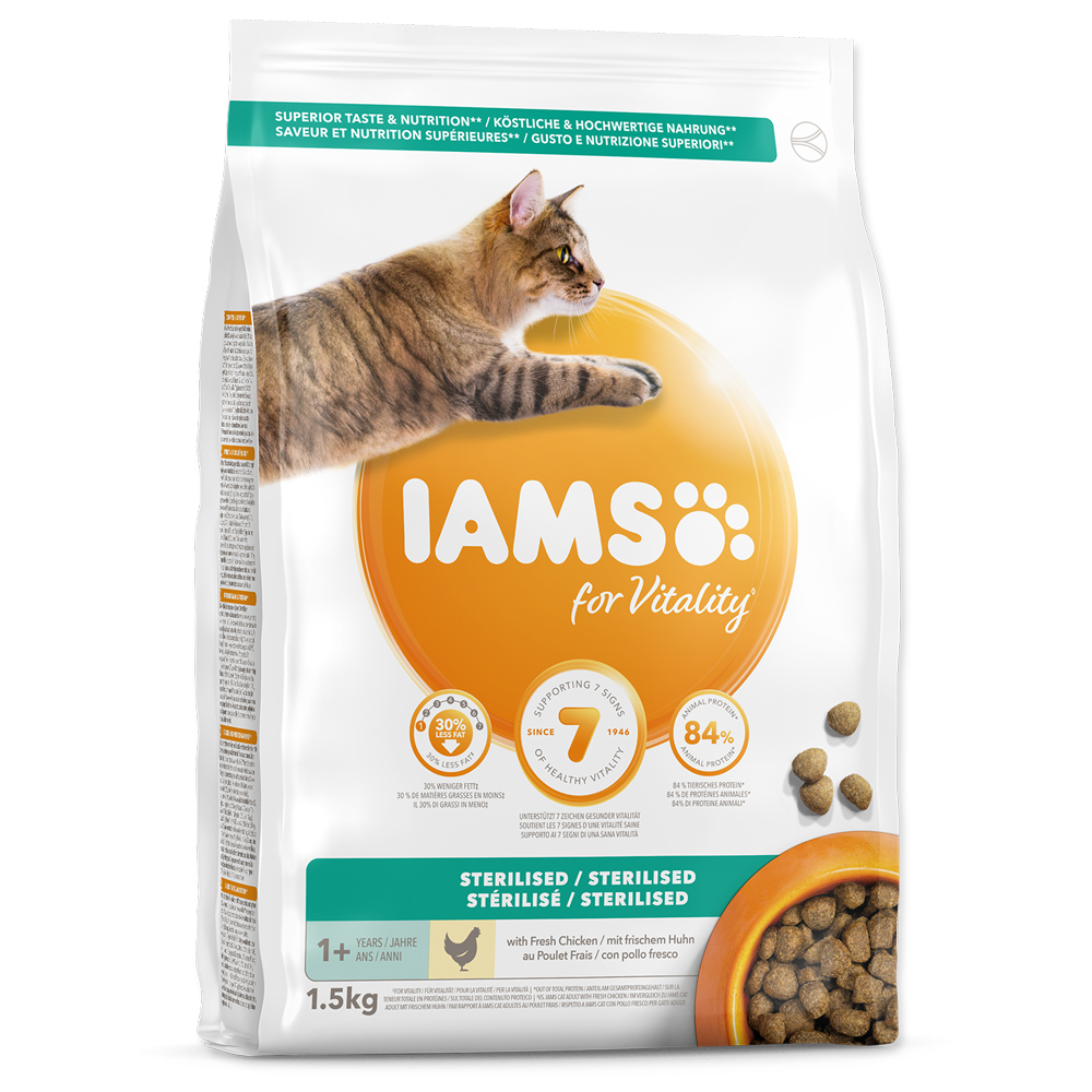 Sleva 13% - IAMS for Vitality Light in Fat Cat Food with Fresh Chicken 1,5kg