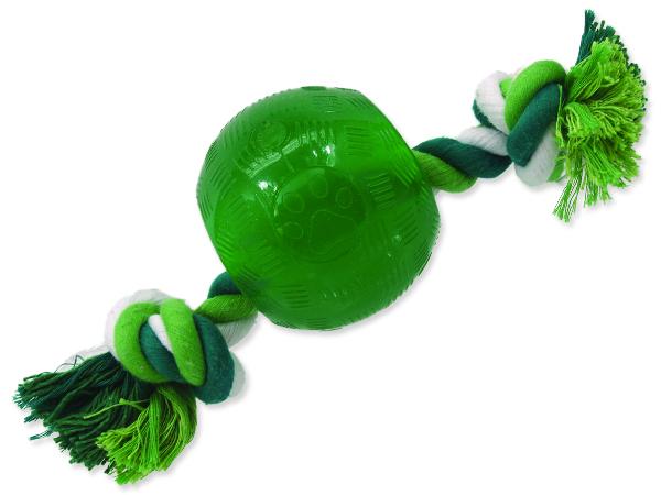 Hračka DOG FANTASY Strong Mint míček guma s provazem zelený 8,2 cm 1ks