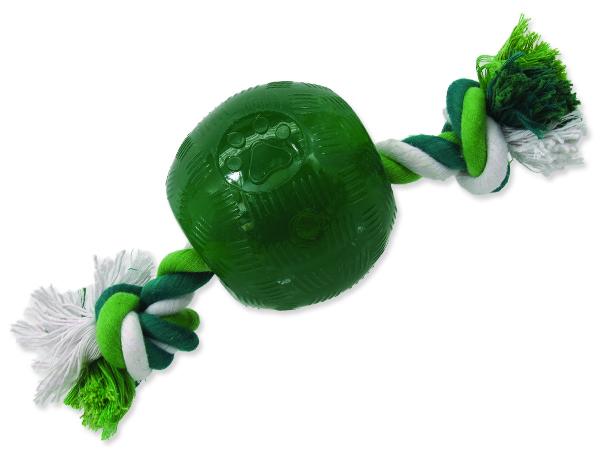Hračka DOG FANTASY Strong Mint míček guma s provazem zelený 9,5 cm 1ks
