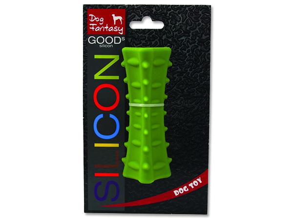 Hračka DOG FANTASY silikonový hranol tříboký tmavě zelený 1ks