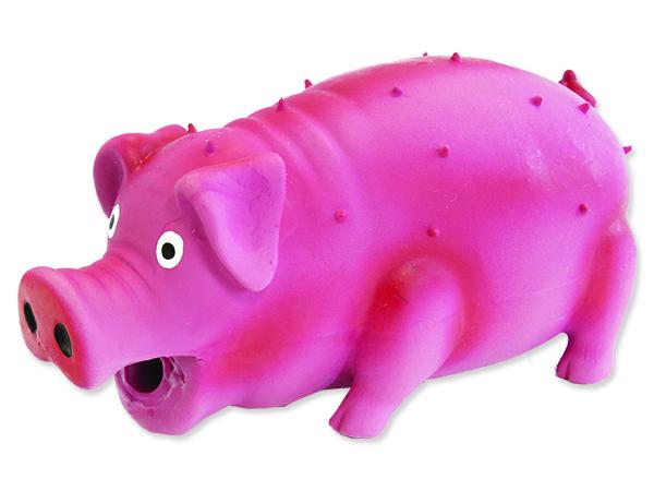 Hračka DOG FANTASY Latex prase chrochtající mix barev 10 cm 1ks