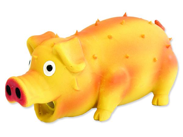 Hračka DOG FANTASY Latex prase chrochtající mix barev 21 cm 1ks