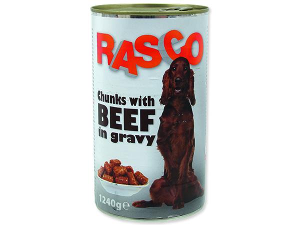 Konzerva RASCO Dog hovězí kousky ve šťávě 1240g