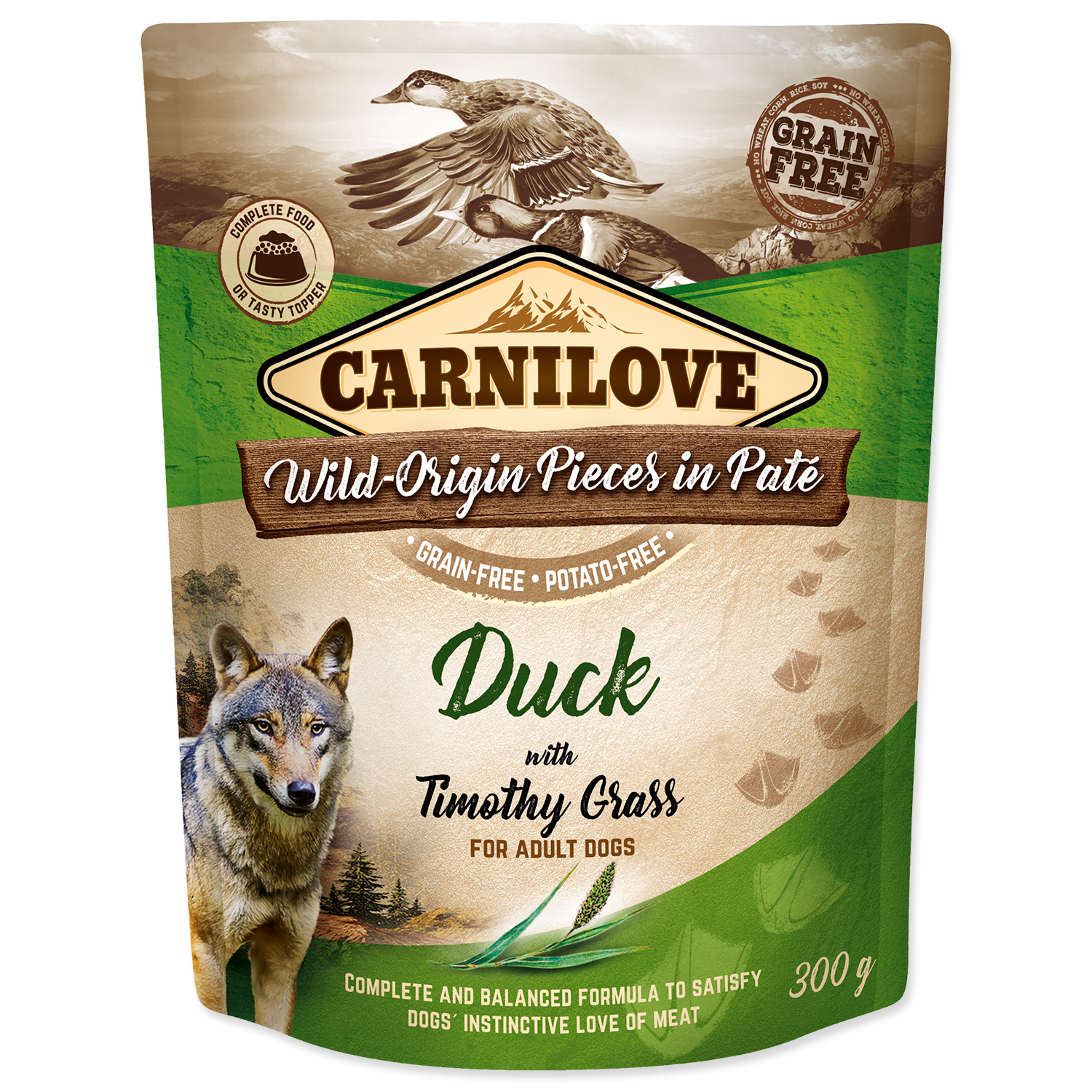 Kapsička CARNILOVE Dog Paté Duck with Timothy Grass 300g