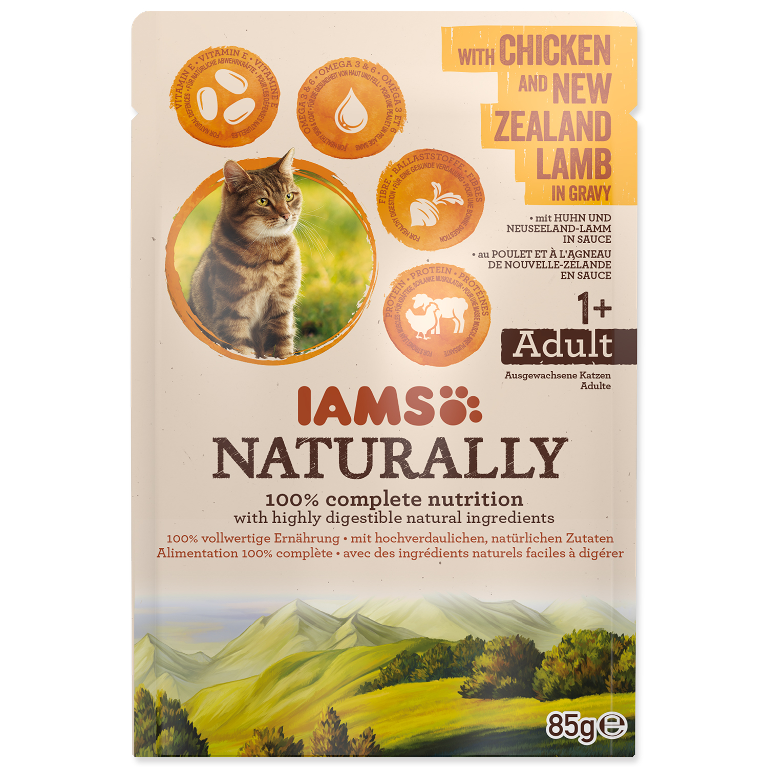 Kapsička IAMS Cat Naturally with Chicken & New Zealand Lamb in Gravy 85g