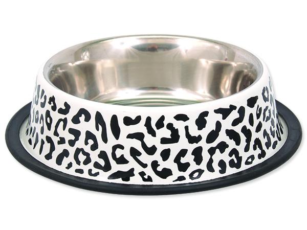 Miska DOG FANTASY nerezová s gumou leopard 29cm 1,8l