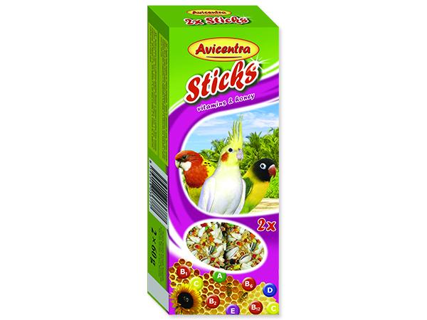 Tyčinky AVICENTRA vitamíno-medové pro malé papoušky 2ks