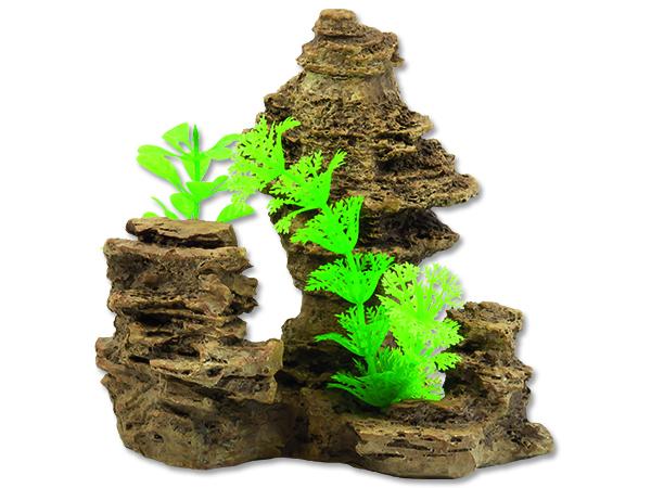 Dekorace AQUA EXCELLENT skála s rostlinou 14 cm 1ks