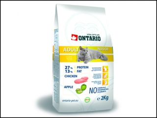 ONTARIO Cat Adult Indoor 2kg + 400g ZDARMA