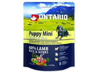 ONTARIO Puppy Mini Lamb & Rice 0,75kg