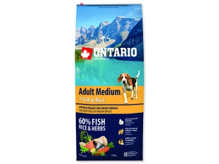 ONTARIO Dog Adult Medium Fish & Rice 12+2,25 Kg ZDARMA