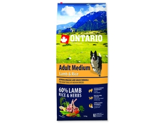 ONTARIO Dog Adult Medium Lamb & Rice 12+2,25kg ZDARMA
