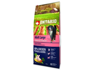 ONTARIO Dog Adult Large Chicken & Potatoes & Herbs  12+2,25kg ZDARMA