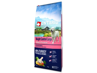 ONTARIO Dog Large Weight Control Turkey & Potatoes & Herbs 12+2,25kg ZDARMA