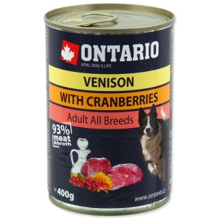 Konzerva ONTARIO Dog Venison, Cranberries and Safflower Oil 800g