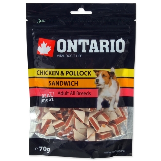 Snack ONTARIO Dog Chicken Jerky Sandwich 70g