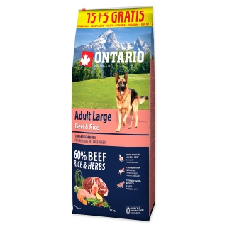 ONTARIO Dog Adult Large Beef & Rice 15+5 kg 20kg