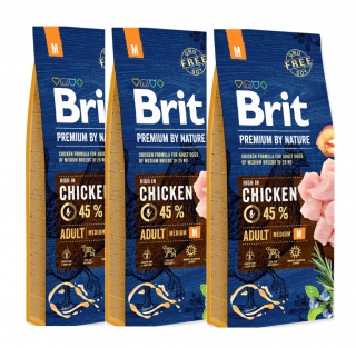 3x BRIT Premium by Nature Adult M 15kg