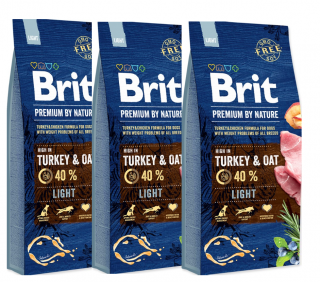 3x BRIT Premium by Nature Light 15kg