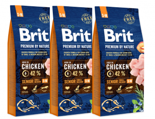 3x BRIT Premium by Nature Senior S+M 15kg