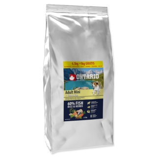 ONTARIO Dog Adult Mini Fish & Rice 6,5 + 1 kg EXTRA 7,5kg
