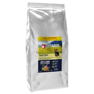 ONTARIO Dog Adult Mini Lamb & Rice 6,5 + 1 kg EXTRA 7,5kg