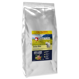 ONTARIO Senior Mini Lamb & Rice 6,5 + 1 kg EXTRA 7,5kg