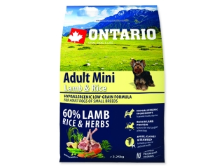 ONTARIO Dog Adult Mini Lamb & Rice 2,25kg