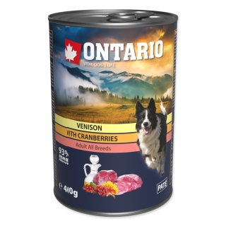 Konzerva ONTARIO Dog Venison, Cranberries and Safflower Oil 400g
