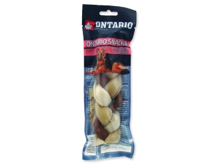 Snack ONTARIO Dog Rawhide Braided Stick Mix 17,5 cm