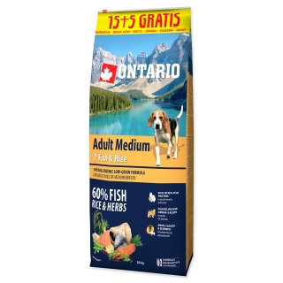 ONTARIO Dog Adult Medium Fish & Rice 15+5 kg 20kg